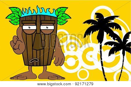 hawaiian mask cartoon summer background