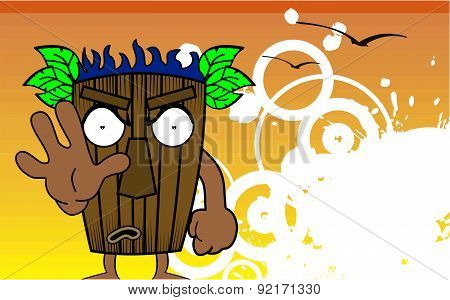 stop tiki hawaiian mask cartoon summer background