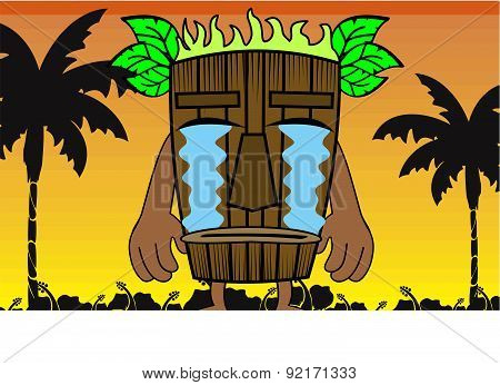 crying tiki hawaiian mask cartoon summer background