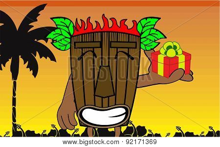 gift tiki hawaiian mask cartoon summer background