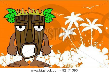 angry tiki hawaiian mask cartoon summer background