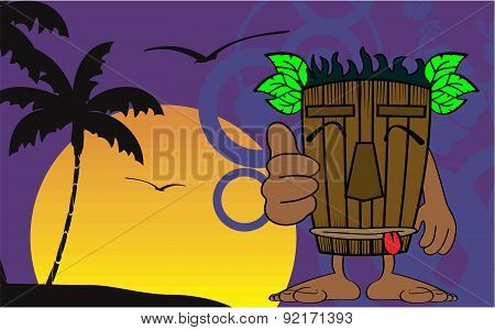 tiki hawaiian mask cartoon summer background