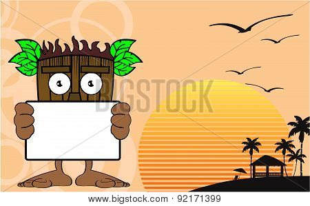 tiki hawaiian mask cartoon singboard background