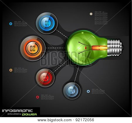 Infographics template with 4 choices layout connected to a Light Bulb. Conceptual design made to chose the best idea or item between 4 choice available.