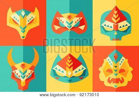 Ethnic, Origami, Carnival Mask Vector Illustration