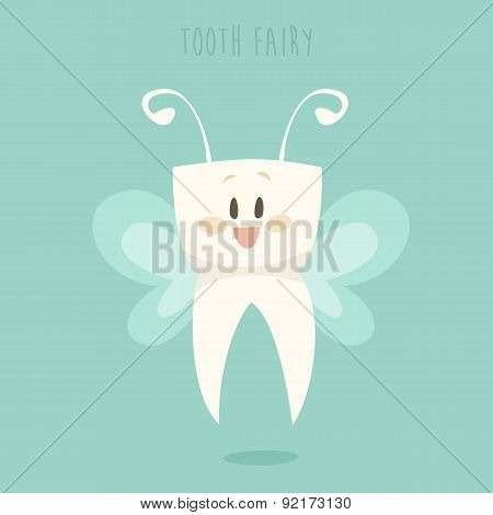 Tooth Fairy, Healthy Teeth Flat Design Vector