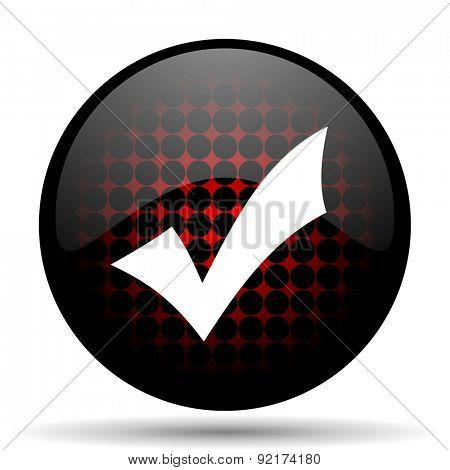 accept red glossy web icon