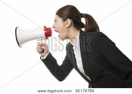 Business Woman Using A Megaphone