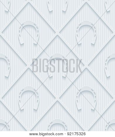 Light gray horseshoes wallpaper. 3d seamless background. Vector EPS10.