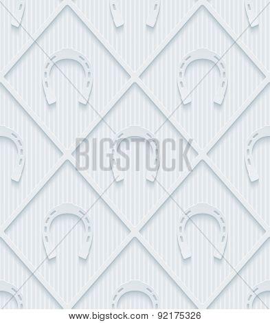 Light gray horseshoes wallpaper. 3d seamless background. Vector EPS10.