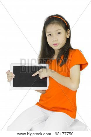 Asian Young Woman Holding Pc Tablet