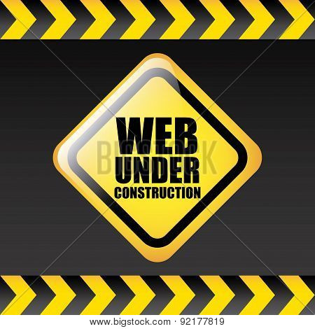 web under construction over gray background vector illustration