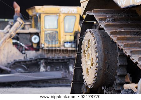 Close Up  Bulldozer In Construction Site