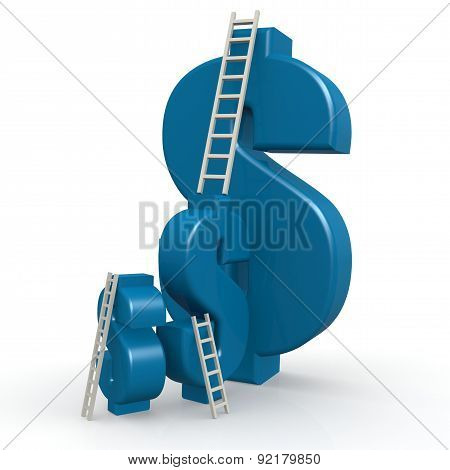 Blue Dollar Signs With Ladder