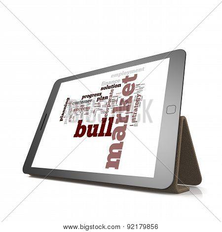 Bull Market Word Cloud On Tablet
