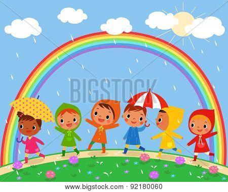 Children Walk On A Beautiful Rainy Day