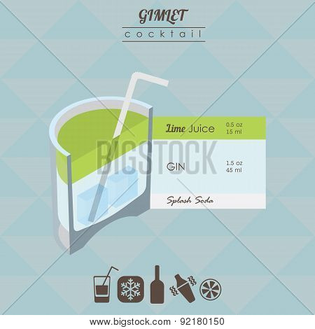 Gimlet cocktail flat style isometric illustration with icons of