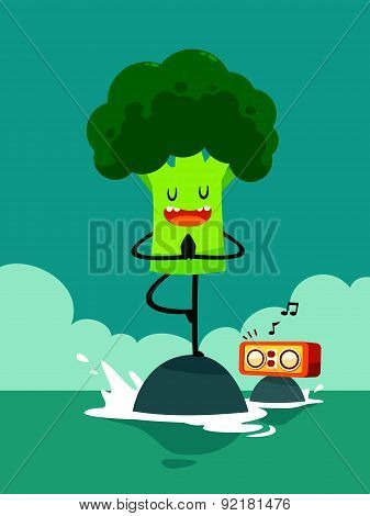 Broccoli Do Yoga Tree Pose