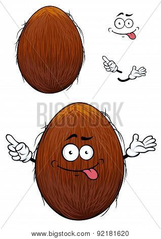 Cute happy cartoon coconut with a cheesy grin