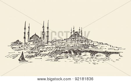 Istanbul, Turkey, Harbor, Vintage Engraved Sketch