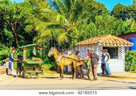 Main street of Cuban town with stalls, Cuba