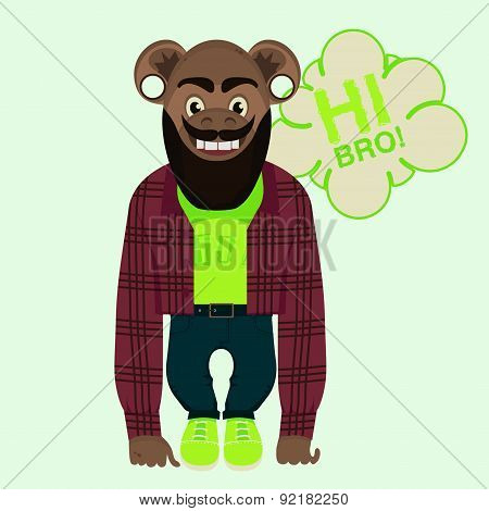 Vector Illustration. Funny Monkey Jeans And A Plaid Shirt.