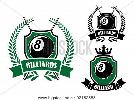 Eight ball billiards or pool emblem