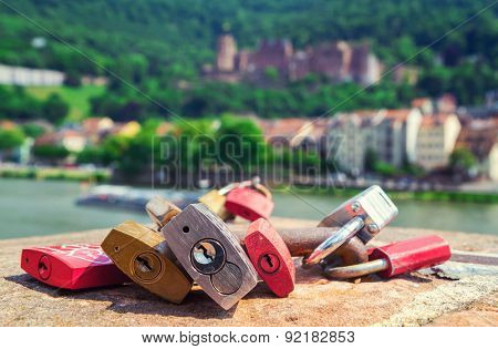 locks symbolizing love on a bridge in Heidelberg