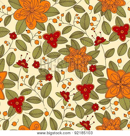 Red or orange flowers and berries seamless pattern