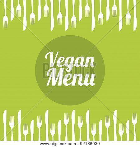 vegan food over green background vector illustration