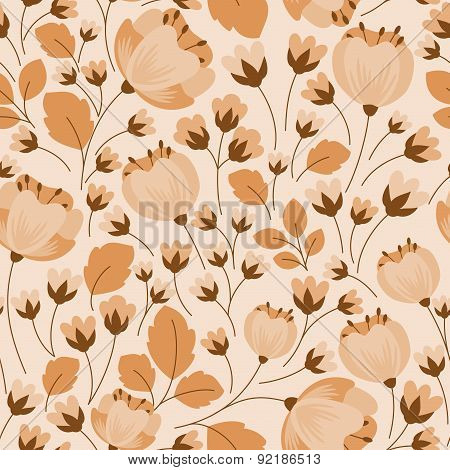 Retro floral beige and brown seamless pattern