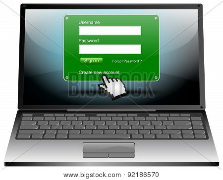 Laptop Computer with Login web screen