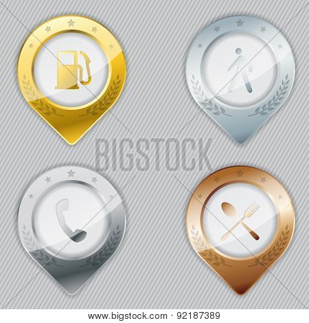 Metallic Gps Pointer Set