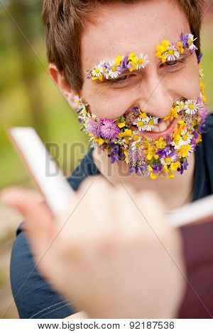 Smiling Hippy Hipster Reading Face Flower-covered