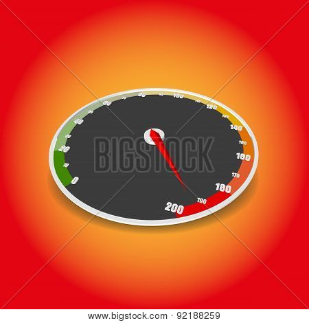 Vector speedometer icon. A vector Speedometer illustration design.