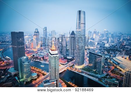 Aerial View Of Tianjin In Nightfall