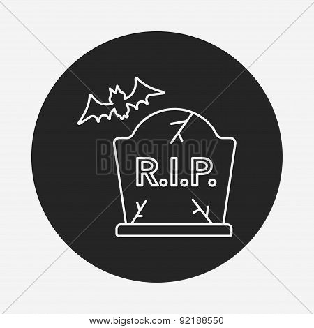 Halloween Grave Line Icon