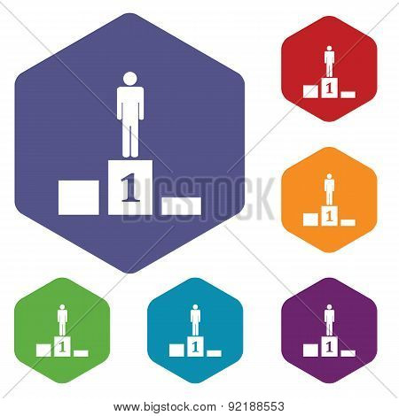 Pedestal hexagon icon set