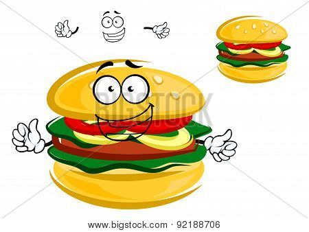 Happy tasty tempting cartoon hamburger character