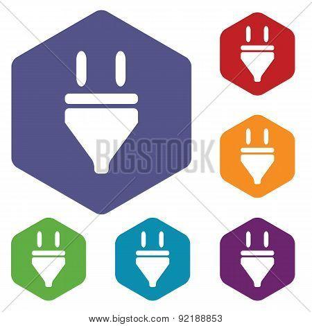 Plug hexagon icon set