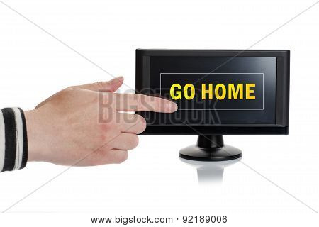 Female Finger Pressing Go Home Button On Gps Device Screen