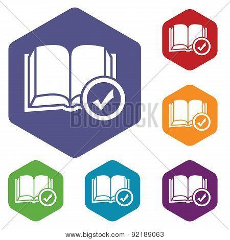 Select book hexagon icon set