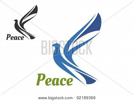 Blue silhouette of pigeon bird