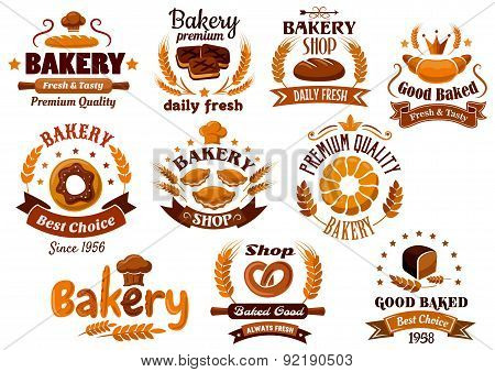 Bakery emblems, symbols and labels