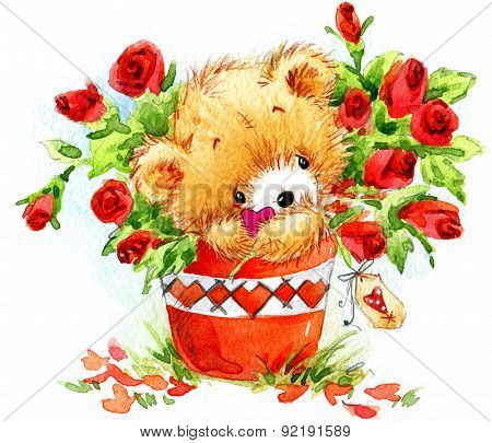 Valentine day. Cute teddy bear and red heart.
