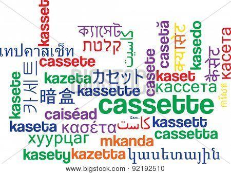 Background concept wordcloud multilanguage international many language illustration of cassette