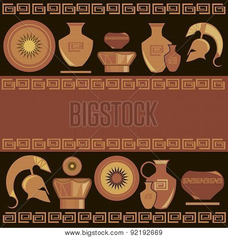 Ancient Greek Ornament, Painted Vases, Vector Illustration
