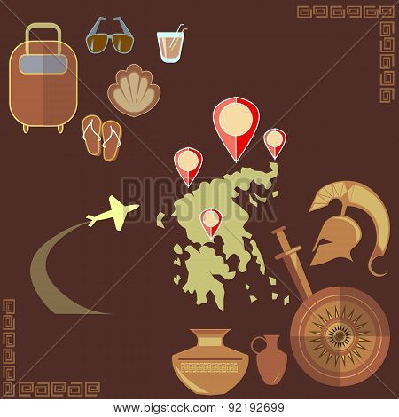 Travel To Greece, Vector Background