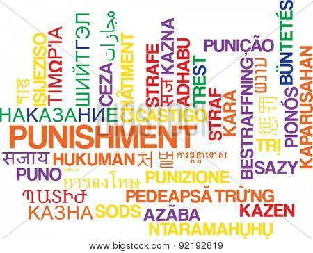 Background concept wordcloud multilanguage international many language illustration of punishment