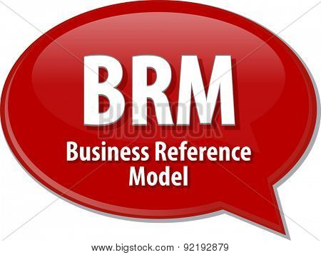 Speech bubble illustration of information technology acronym abbreviation term definition BRM Business Reference Model